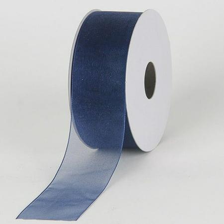 Navy - Sheer Organza Ribbon - ( 1-1/2 inch | 25 Yards )