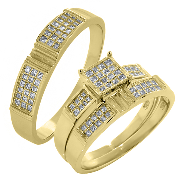 His and Hers 3 Pieces Sterling Silver Gold Plated CZ Engagement Wedding Ring Set