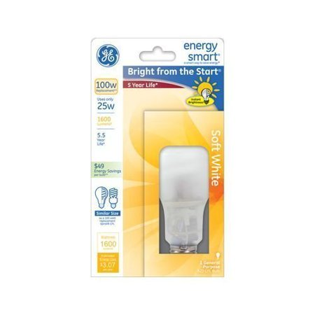 - GE CFL 25w A23 Spiral Light Bulb, 1 pack by General Electric