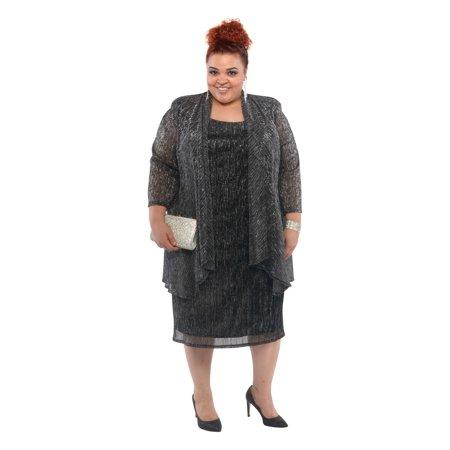R&M Richards - RM Richards Women\'s Plus Size Metallic Knit Mock ...
