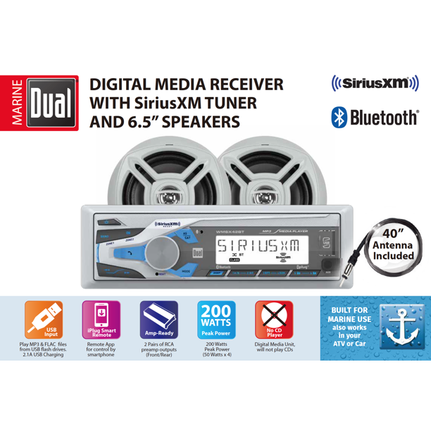 Dual Electronics WCPSX422BT Marine Stereo LCD Single DIN with Built-In Bluetooth, SiriusXM SXV300 Tuner, USB Port, Two 6.5-inch Dual Cone Marine Speakers & Long Range Marine Antenna