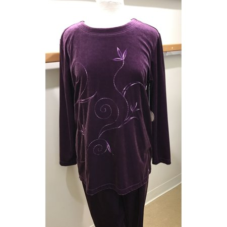 Purple Embroidered Velour Tunic Top And Matching Pant 2-Piece Jog Lounge Set (Style# (Embroidered Pajamas)