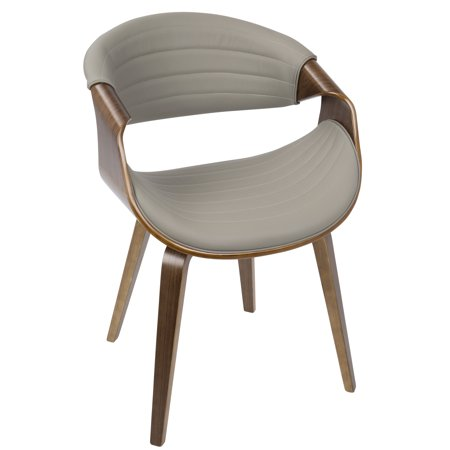 Symphony Mid-Century Modern Dining / Accent Chair in Walnut Wood and Grey Faux Leather by LumiSource ()