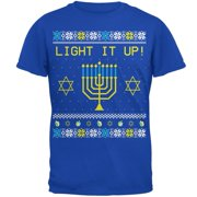 Hanukkah Light It Up Ugly Christmas Sweater Mens Soft T Shirt Royal SM