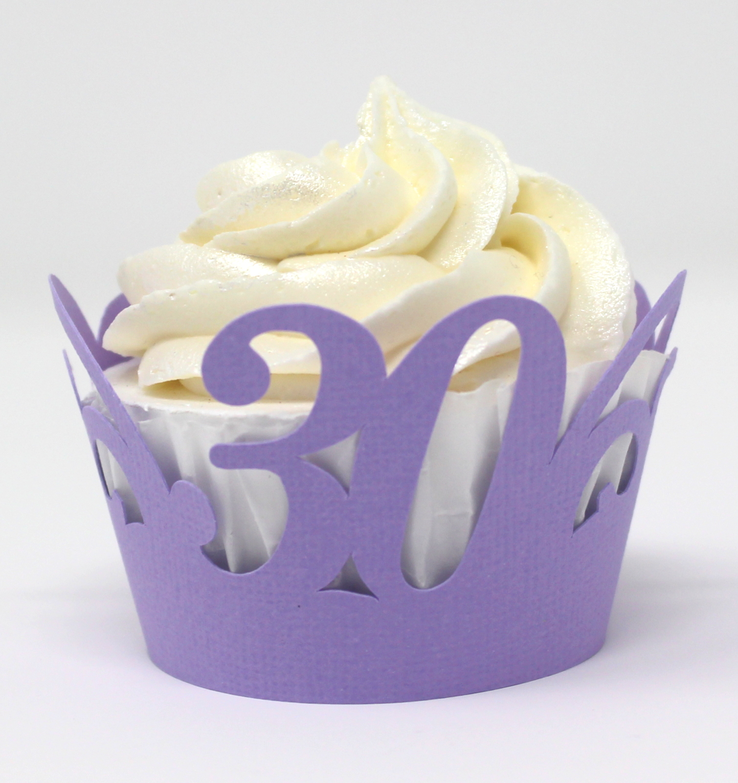 All About Details 30 Cupcake Wrappers,12pcs, 30th birthday decoration, 30th anniversary decoration (Lavender)