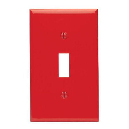 Leviton 80701-R Red Nylon Single Gang Toggle Light Switch Wall Plate ()