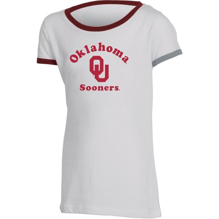 Oklahoma Russell Silk - Girls Youth Russell White Oklahoma Sooners Ringer T-Shirt