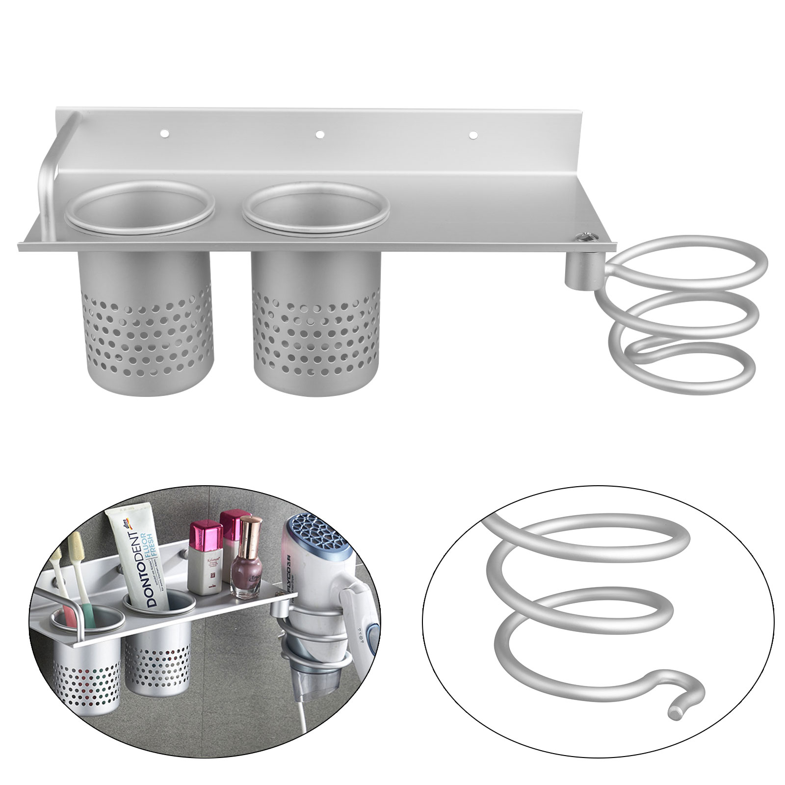 TSV Hair Dryer Stand Collection Storage Hanging Rack Organizer Bathroom Hanger Wall Mount Aluminum Set with 2 Cups