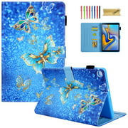 Dteck Flip Case For Samsung Galaxy Tab A 10.1 inch 2019 Tablet SM-T510/T515, Lightweight Cute Pattern PU Leather Folio Flip Stand Case Cover with Card Slots, Gold Butterfly