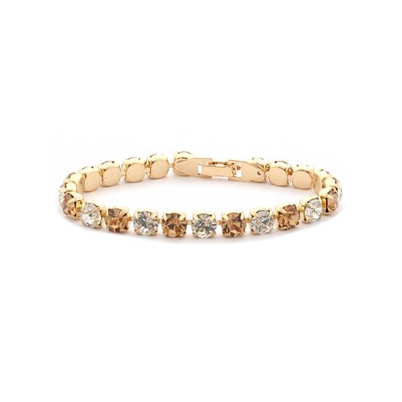 Gold Light Colorado Topaz Rhinestone Tennis Bracelet (Colorado Rockies Classic Bracelets)