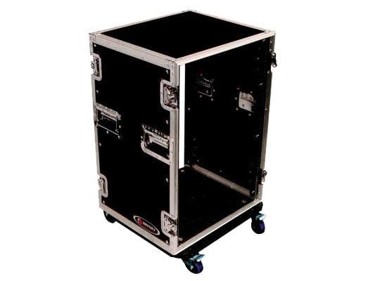 Odyssey Cases FZAR16W New 16 Space Amplifier Amp Rack Case W  Swivel Casters by