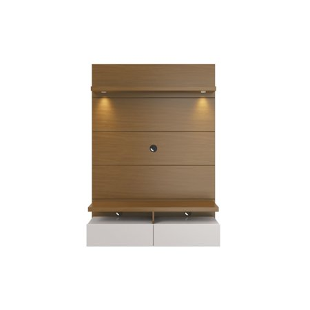 Cabrini 1 2 Floating Wall Theater Entertainment Center In Maple Cream And Off White