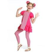 Girls Raspberry Stripe Designer Miranda Tunic Legging Set 7