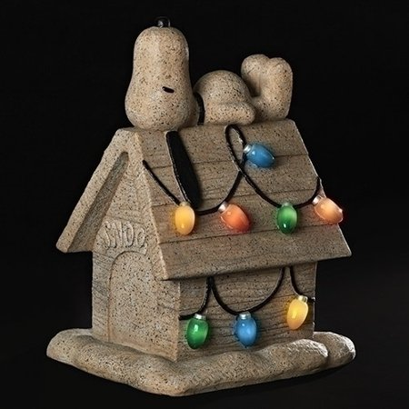 Roman Inc Peanuts Snoopy on Dog House Solar Powered Light Up Christmas Garden Statue New