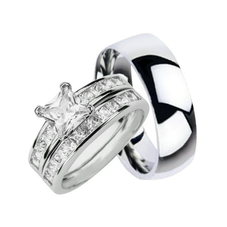 Laraso Co His Hers Matching Wedding Ring Sets Sterling Silver