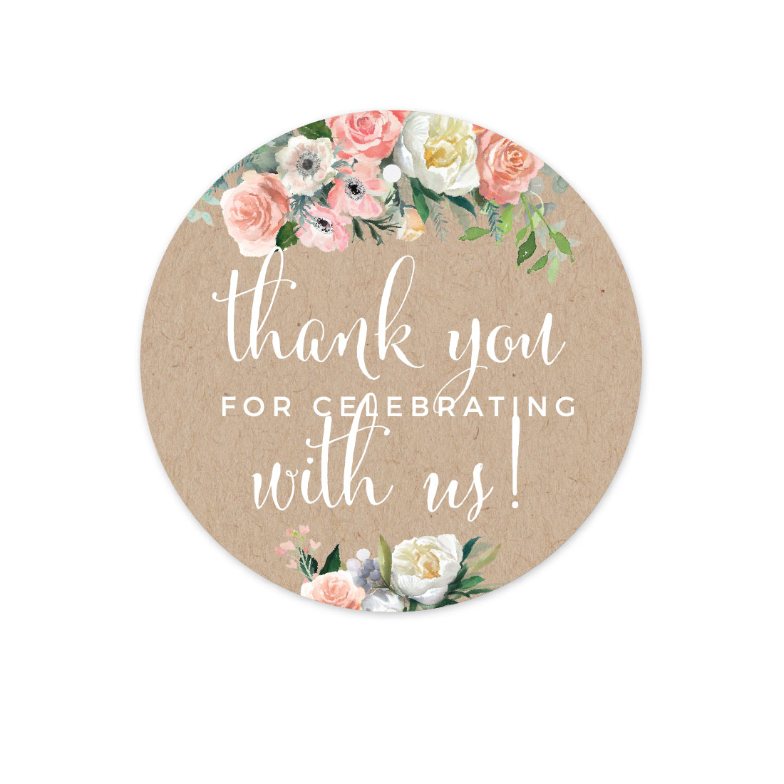 Peach Coral Kraft Brown Rustic Floral Garden Party Wedding, Circle Gift Tags, Thank You for Celebrating, 24-Pack