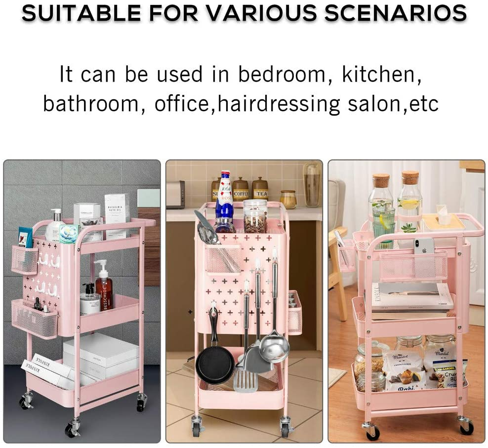2 Storage Organizer Baskets and 4 Hooks Kitchen Office Gray Accessory for Home AMAZING FORCE 3-Tier Rolling Utility Cart with 2 DIY Pegboards Bathroom Metal Craft Cart with Lockable Wheels