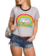 Juniors' Snoopy Day Dreamer Short Sleeve Cropped Ringer T-Shirt by