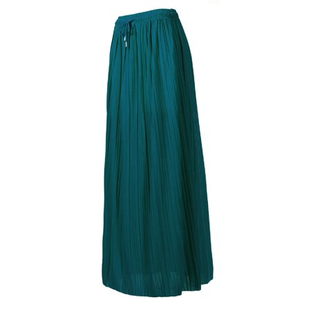 Made by Olivia Women's Elastic Waist Chiffon Loose Pleated Wide Overlay Skirt Teal ONE