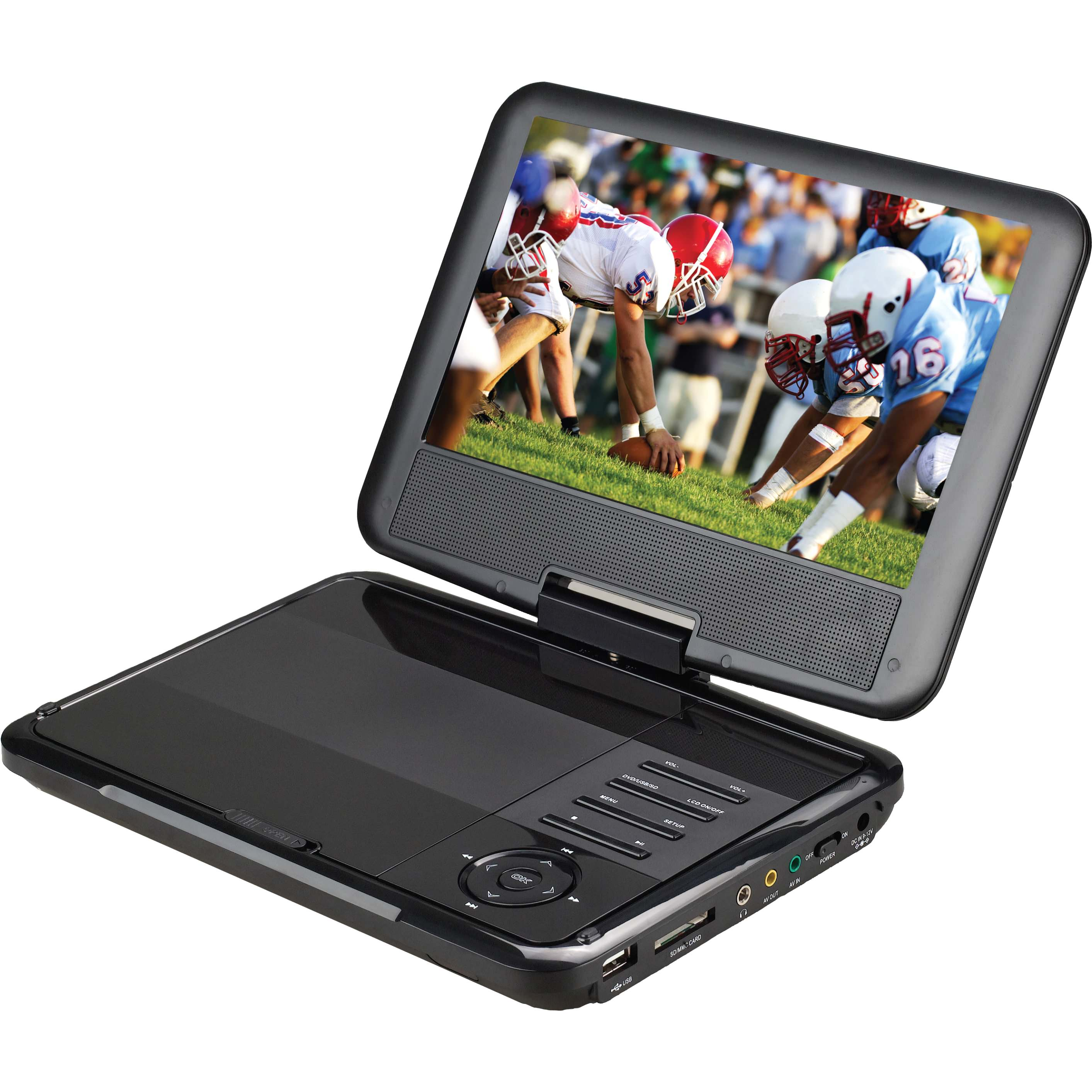 "9"" Portable DVD Player with Swivel Display"