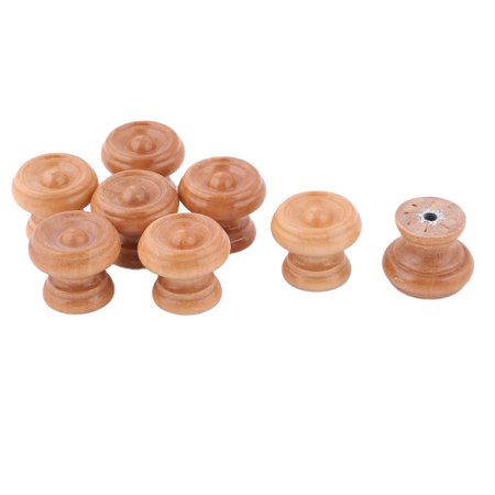 Uxcell Single Hole Design Cabinet Drawer Dresser Cupboard Pull Knobs Wood Color 8pcs Decorative Wood Knobs
