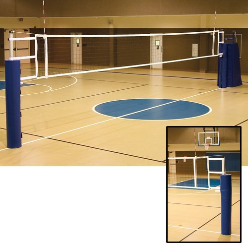 Ultimate Telescopic Aluminum Volleyball System w/o Judge's Stand & Pad or Ground Sleeves-Color:Scarlet