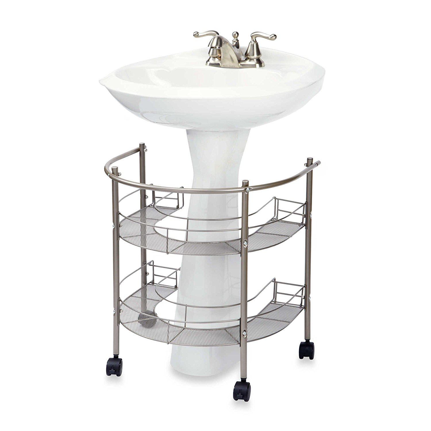 Rolling Organizer For Pedestal Sink � Two Tiers Wrap-Around Storage w  Smooth Glide Casters, Easy to Assemble,... by