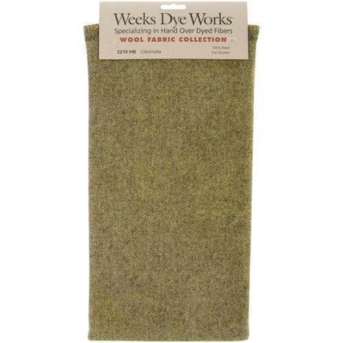 "Wool Herringbone Fabric Fat Quarter 100% Wool 16""X26"" Cut-Citronella"