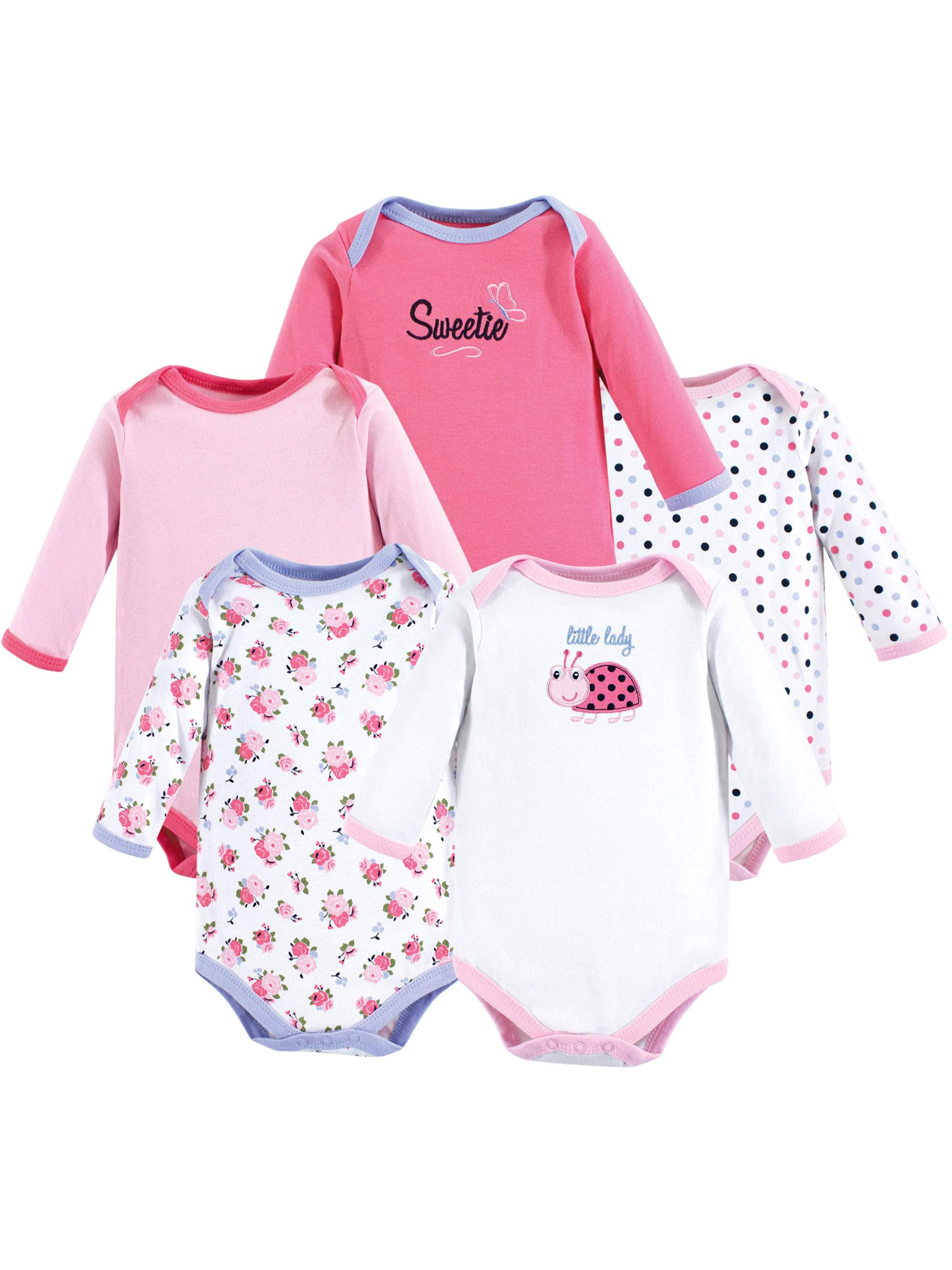 Long-Sleeve Bodysuit 5Pk (Baby Girls)