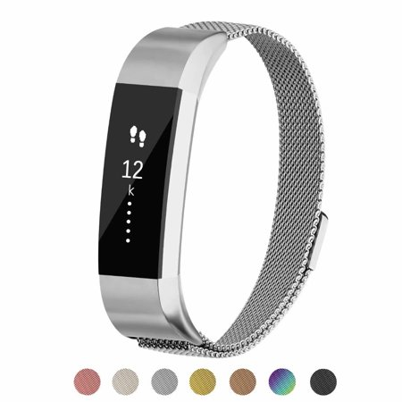 POY For Fitbit Alta Metal Replacement Bands, Milanese Loop Stainless Steel Bracelet Smart Watch Strap with Unique Magnet Lock (Swiss Army Watch Band Loop)