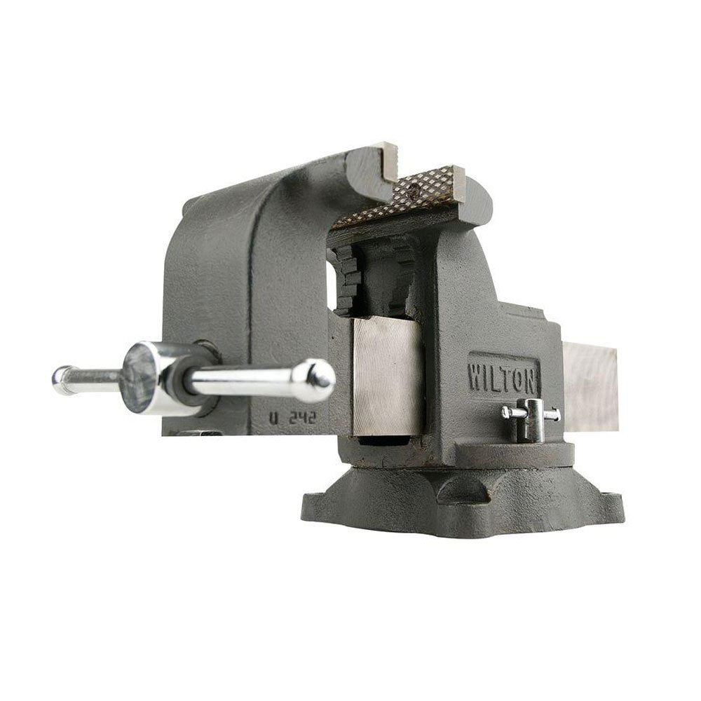 Wilton WS8 8 Inch Jaw 4 Inch Throat Steel Swivel Base Work Shop Bench Vise, Gray by Wilton Tools