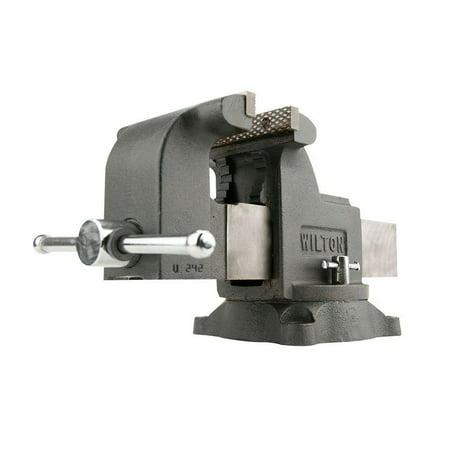 Wilton WS8 8 Inch Jaw 4 Inch Throat Steel Swivel Base Work Shop Bench Vise, Gray 4' Wilton Shop Vise