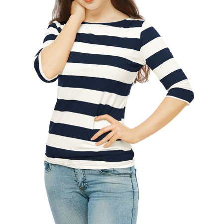 Elbow Sleeve Boatneck Top (Women's Boat Neck Elbow Sleeves Slim Fit Basic Striped Tee Shirt Blouse Shirt Blue L (US 14))