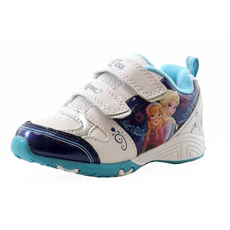 Disney Frozen Toddler Girls White/Blue Fashion Light Up Sneakers Shoes