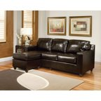 Vogue Bonded Leather Reversible Chaise Sectional Sofa