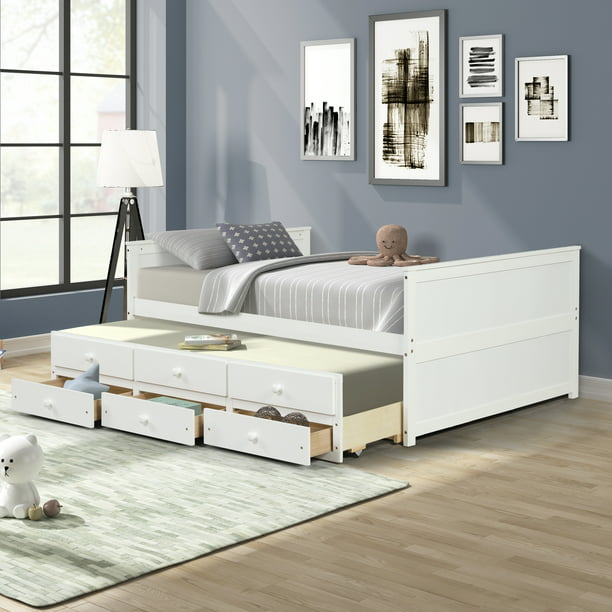 Trundle Bed Frame Seventh Full Size, Full Size Bed With Trundle And Storage Drawers
