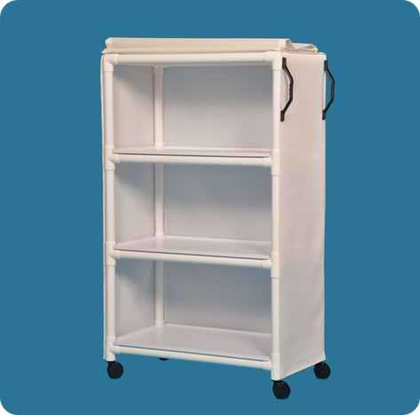 "Standard Line Linen Cart with Three 36"" x 20"" Removable Shelves - VLLC3SBM - Blue Mesh Cover"