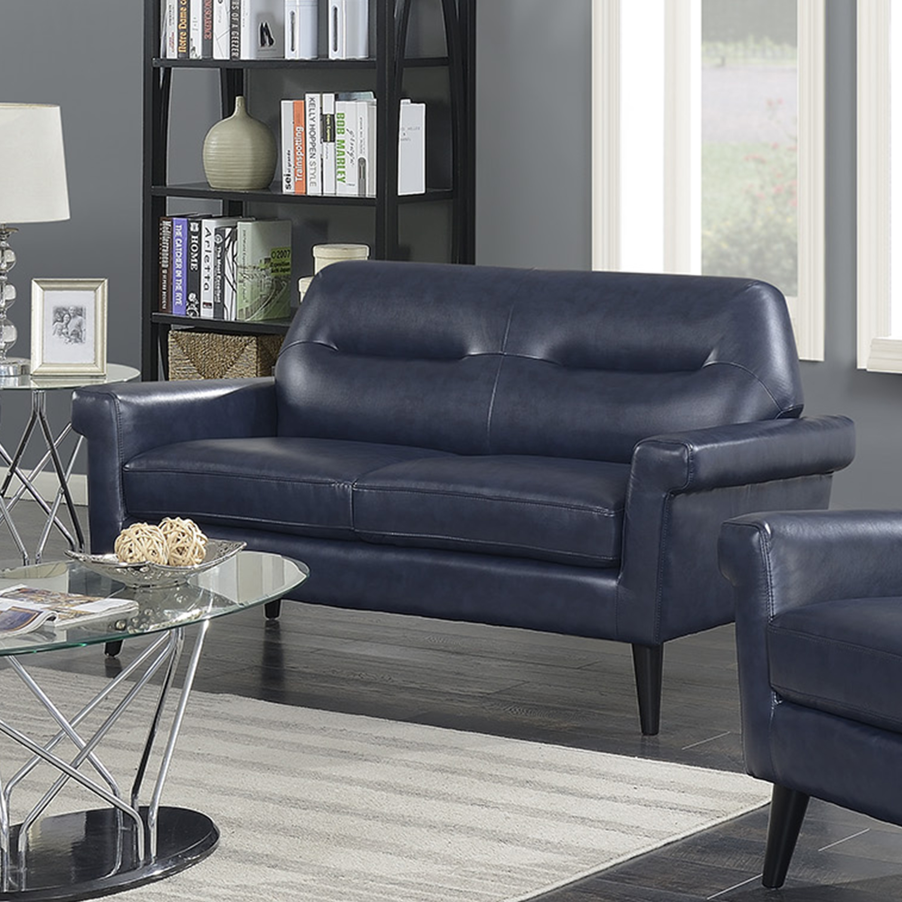 Enjoyable Camden Collection Modern Mid Century Faux Leather Upholstered Stationary Living Room Love Seat Dark Blue Walmart Com Squirreltailoven Fun Painted Chair Ideas Images Squirreltailovenorg