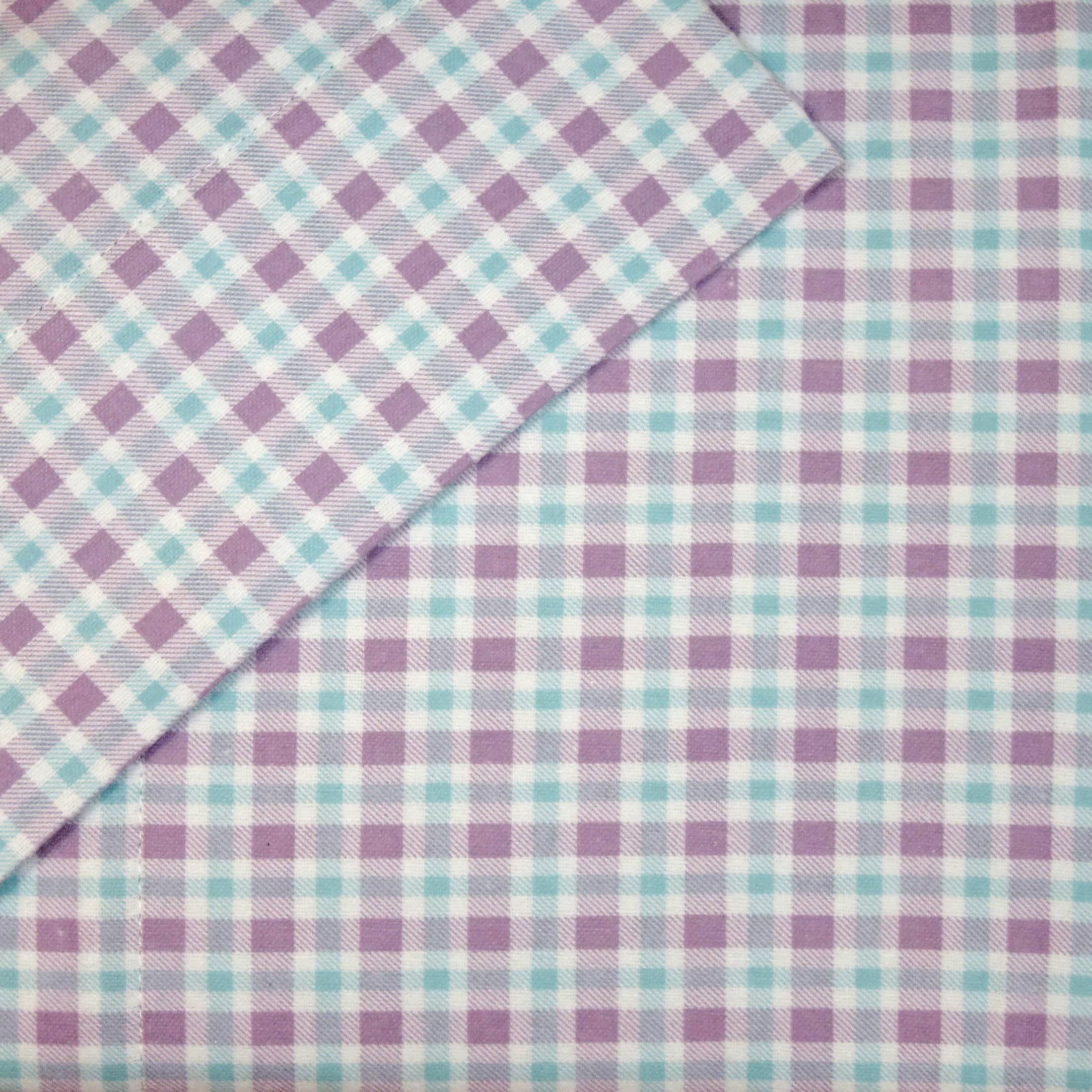 Cuddl Duds Full Flannel Sheet Set 4 Piece 100 Cotton Deep Pocket Heavyweight Double Bed Sheets Purple Blue Check Walmart Com Walmart Com