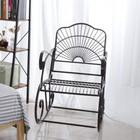 Artisasset Outdoor Rocking Chair Antique Style Iron Rocking Rocker Chair Single Garden Chair in Outdoor Patio Backyard Park