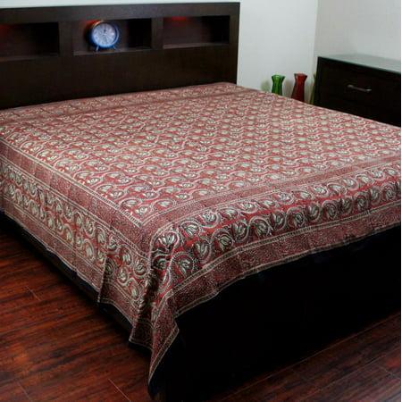 Hand Block Print Dabu Floral Print Cotton Bedspread
