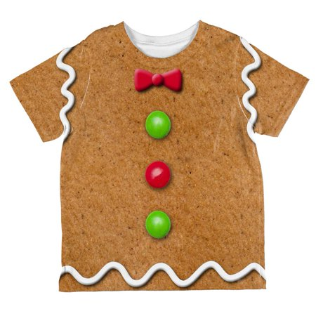 Christmas Gingerbread Man Costume All Over Toddler T Shirt
