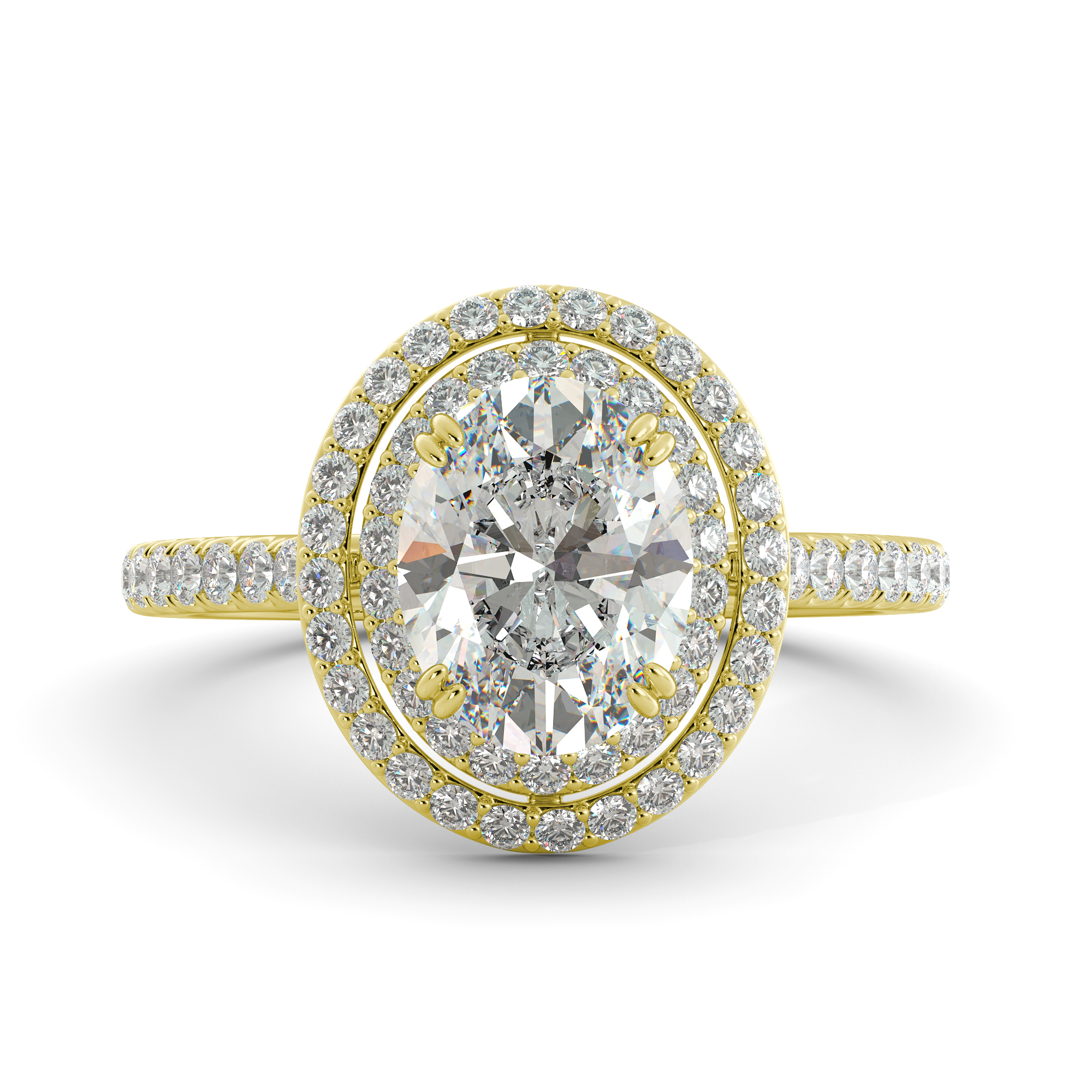 2.92 ct Oval Cut One Moissanite & Diamond Halo Engagement Ring 14k Yellow Gold by J&H Jewelers