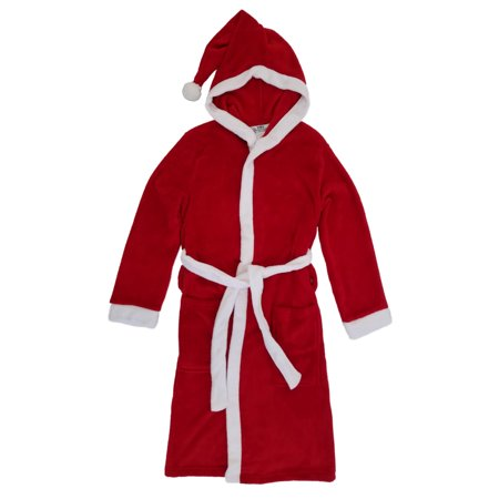 Mens Red Fleece Hooded Santa Claus Christmas Holiday House Coat Bath Robe - Santa Claus Coat