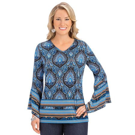 women's bell sleeve medallion print boho tunic top v-neck, x-large, blue multi - made in the usa Medallion Print Top