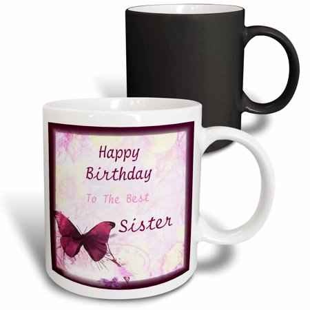 3dRose Image of Happy Birthday Best Sister With Butterflies - Magic Transforming Mug,