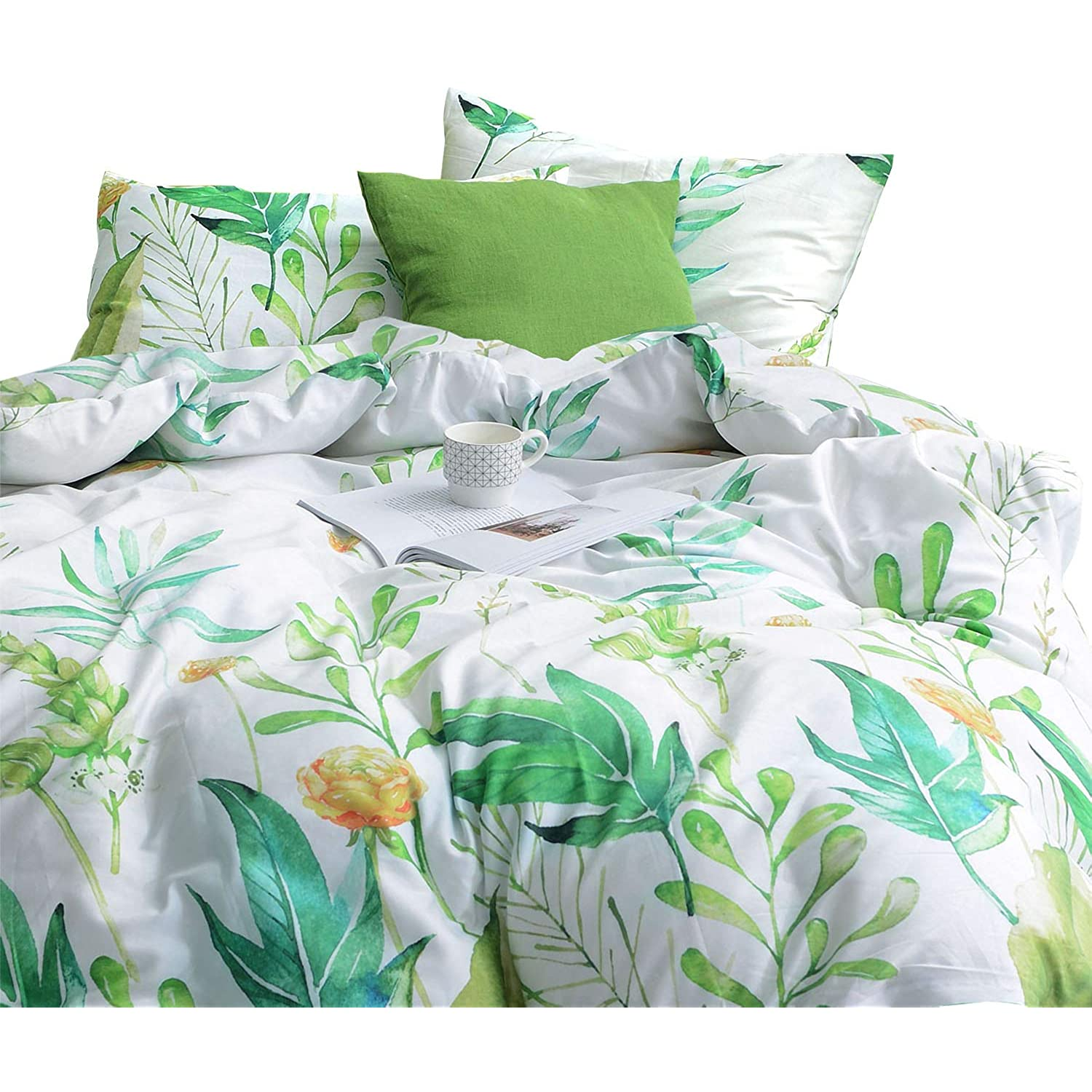Wake In Cloud Floral Comforter Set 100 Cotton Fabric With Soft Microfiber Fill Bedding Botanical Flowers And Green Tree Leaves Pattern Printed On White 3pcs Queen Size Walmart Com Walmart Com