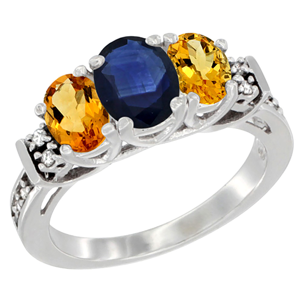 10K White Gold Natural Blue Sapphire & Citrine Ring 3-Stone Oval Diamond Accent, sizes 5-10 by WorldJewels