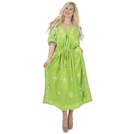 La Leela Long Kaftan Caftan Womens Maxi Cover Ups Beach Swimwear Dresses Evening Gown Lounge Ladies Resort Bathing Suit Pv Solid Embroidered Green Cyber Monday Deal Thanksgiving