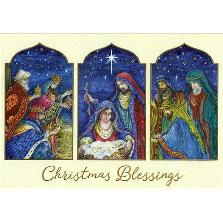 Designer Greetings Magi Visit Jesus Three Panel Box of 18 Religious Christmas Cards ()